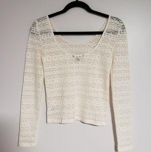 American Eagle - Cream Long Sleeve Lace Crop Top